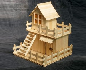 Recycled Ice Cream Sticks House for Kids