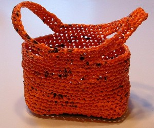 Recycled Orange Plastic Bag into Purse