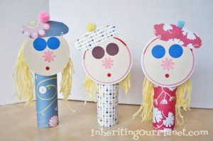 Recycled Paper Roll Dolls