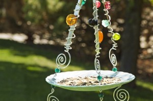 Recycled Plate & Knife Bird Feeder