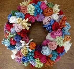 Recycled Sweaters Wreath
