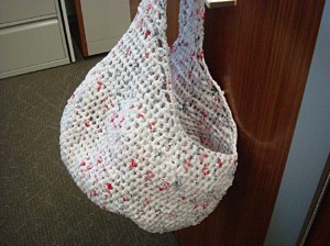 Recycled White Plastic Bag into Purse