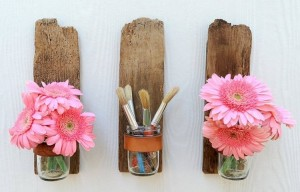 Recycled Wood & Glass Jars Home Deco