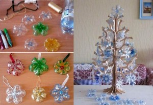 DIY Recycled Plastic Bottle Snowflake Ornaments
