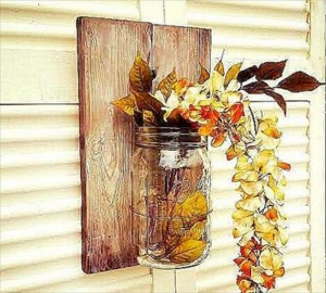 Pallet with Mason Jar for Wall Decor