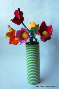 Recycled Egg Cartons Flower Boquet