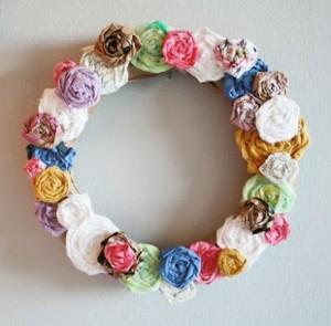 Recycled Fabrics Wall Wreath
