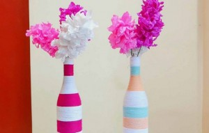 Recycled Wine Bottles Flower Vase