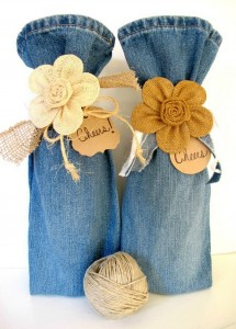 Recycled jeans Wine Bags