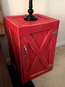 Red Pallet Nightstand