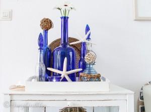 Reuse Blue Glass Bottles for Decor
