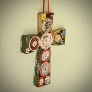 Upcycled Paper Cross for Wall Decor