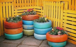 DIY Recycled Old Tire Planter