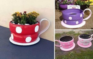 DIY Recycled Tire Teacup Planter