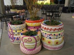 DIY Recycled Tires Planters