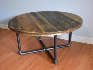 Pallet Round Coffee Table with Metal Legs