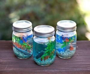 Recycled Mason Jars Aquarium