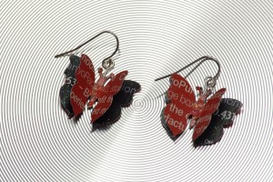 Recycled Paper Butterfly Earrings