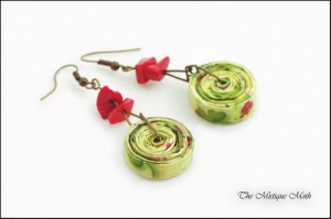 Recycled Paper Jewelry Earrings
