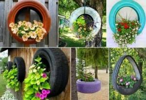 Recycled Tires Garden Decor