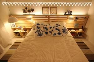 Pallet Headboard with Lights & Shelves