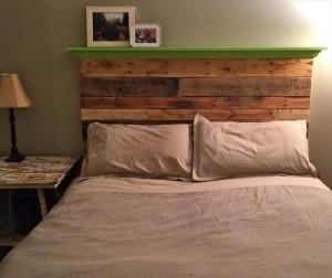 Pallet Headboard with Shelf