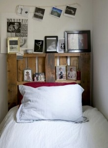 Pallet Made Headboard with Shelves