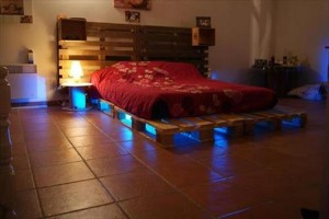 Pallet Wooden Bed with Lights