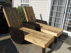 Pallet and Wire Spool Lounge Chairs