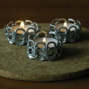 Recycled Tin Can Top Candle Holder