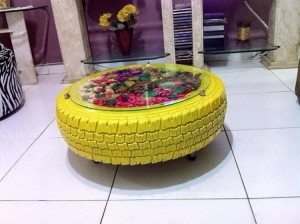 Recycled Tire Coffee Table with Glass Top