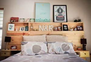 Wooden Pallet Headboard with Shelves