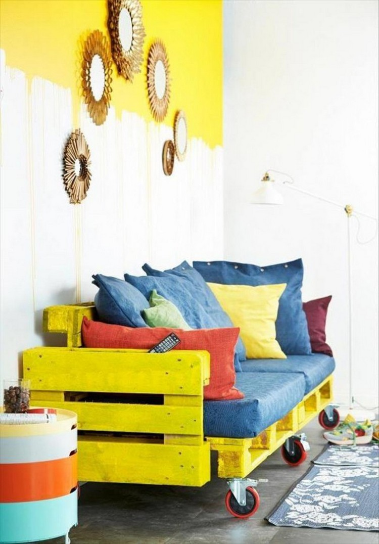 Yellow Painted Pallet Sofa on Wheels