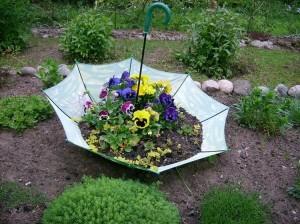 Garden Decor with Old Umbrella