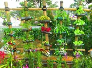 Recycled Bottles Garden Decor
