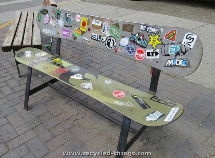 Snowboard Upcycled Bench