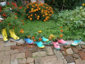 Upcycled Boots Garden Decor
