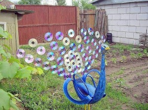 Upcycled CD Peacock
