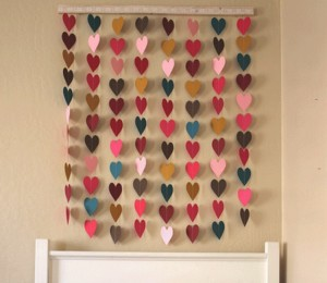 Wall Decor with Paper Hearts