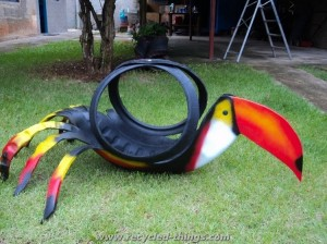 Garden Bird with Recycled Tires