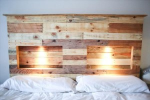 Pallet Wood Headboard with Lights