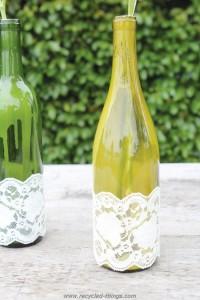 Lace Wine Bottle Vase