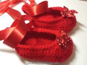 Red Crochet Baby Slippers