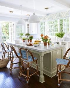 Blue and White Kitchen Island