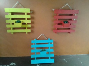 Colorful Pallet Wall Planters