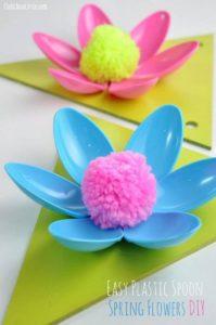 Plastic Spoons Spring Flowers