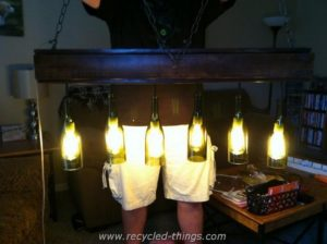 Wood Pallet and Glass Bottles Chandelier