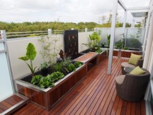 Patio Wooden Deck with Planters