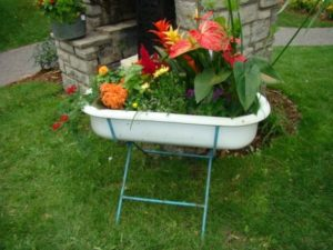 Recycled Bathtub Planter