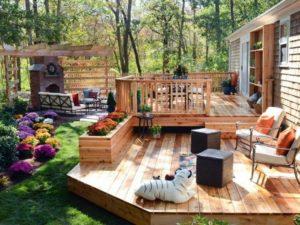 Wooden Floor Backyard Landscaping Idea